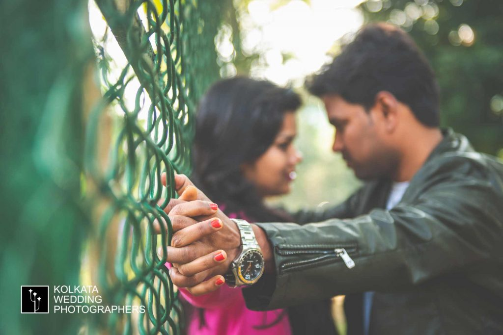 Couple poses for pre wedding photography